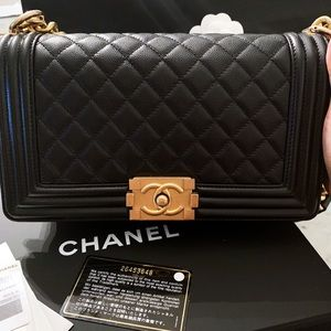 Authentic Chanel Boy handbag medium